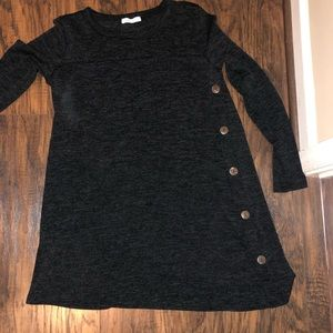 Dark charcoal LS tunic button embellishments sz L